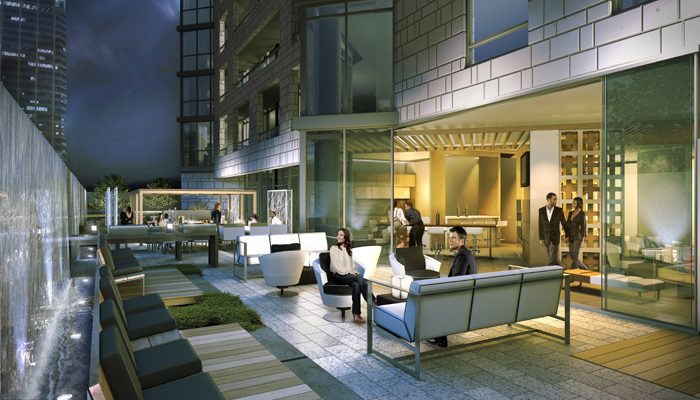 Early project rendering of the courtyard design, showing the many lounge and dining spaces incorporated in the outdoor amenity space.