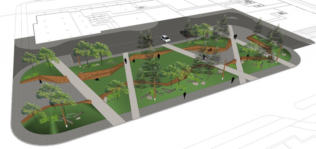Central Park  Alternate designs for the park offer larger green lawns through raised ribbons.  Bisecting path respond to desire lines. The naturalized forms are partnered with forest litter to create playful moments for children.