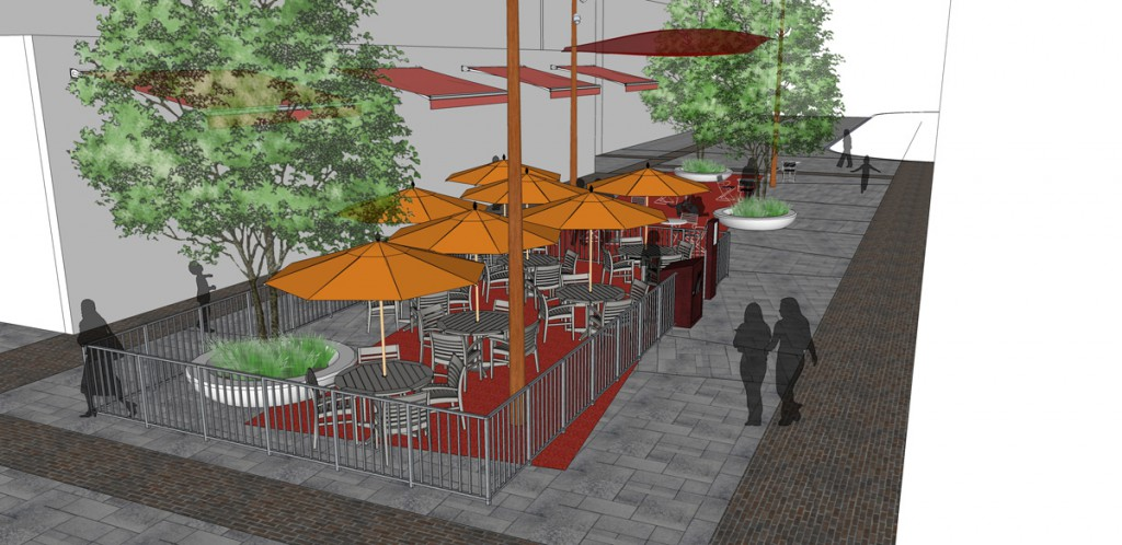 The retail plaza  In the open air courtyard, street trees and colourful umbrellas are placed strategically to create edges and enhance the colourful ceilings with some shade.  A fenced patio offers opportunities for licensed venues.