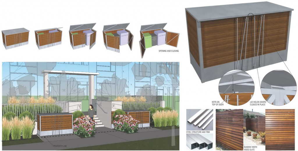 Articulated public realm  Optimization of limited outdoor spaces is facilitated with attractively designed  custom utility bins for for  street side storage.