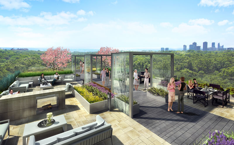 The 10th Floor terrace has expansive views of High Park and downtown Toronto, which form an unparalleled backdrop for a series of entertaining and party spaces.