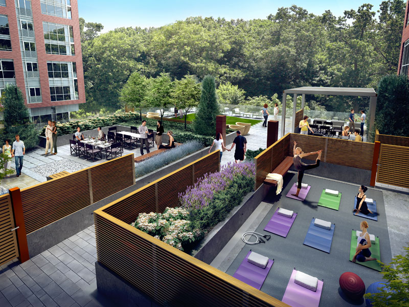The 3rd floor terrace is full of active amenity spaces, tying closely with the interior programming