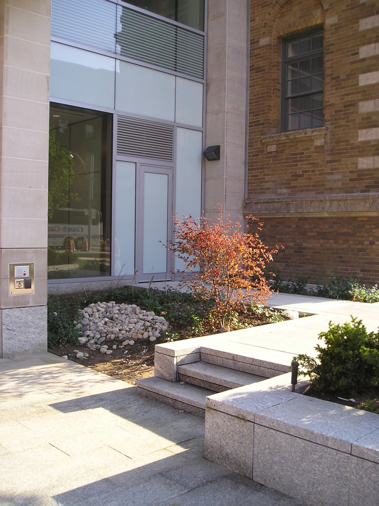 Stone steps and walls leading from a secondary building exit.