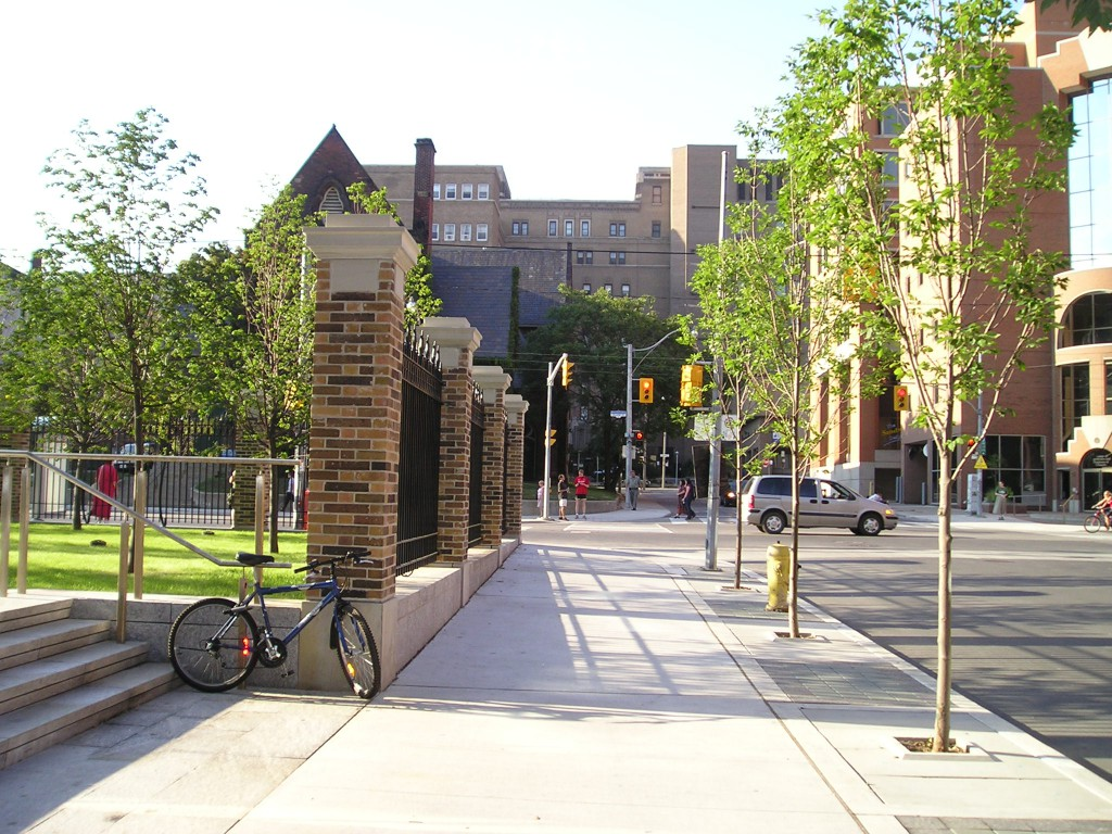 A handsome streetscape design is formed with the combination of the site's historic elements and the new.