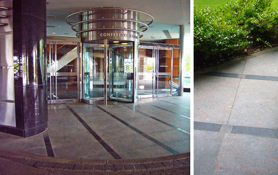 Granite paving creates a carpet at the entrance and ground floor