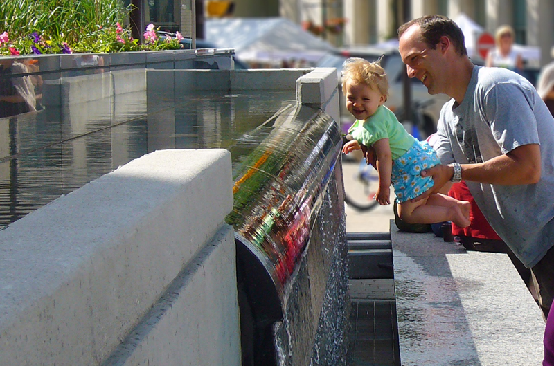 Children and families are irresistibly drawn towards the waterwall