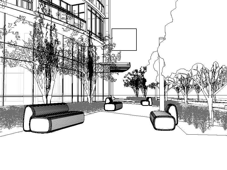 Wireframe drawing of a streetscape