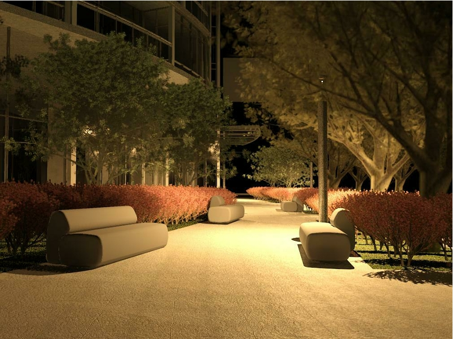 BIM Automatic Rendering showing lighting and street furnishings