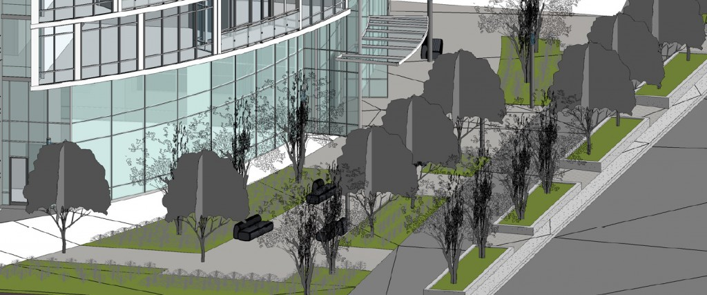 "Axonometric image from Revit showing street and ground floor landscaping - this is a standard live ""3D"" working view"