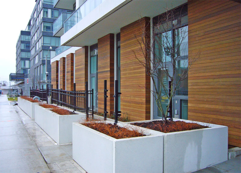 Groundfloor units with patios help extend living space outdoors and help animate the public space.