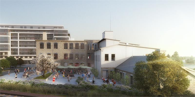 At the north end of the site, an intimate courtyard space is enclosed by preserved heritage buildings.