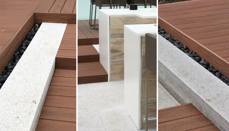 Clean details characterize the terrace to give it its tailored look.