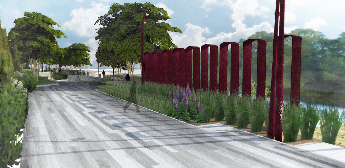 The Shadow Wall recalls the heritage brick factory wall that stood along the river's edge.