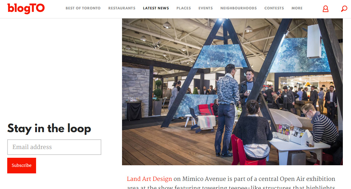 Land Art Design IDS 2017 booth gets shoutout on BlogTO!