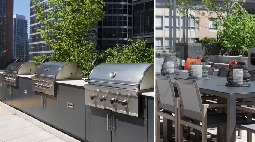 Numerous BBQ and outdoor dining opportunities on this downtown Toronto rooftop terrace