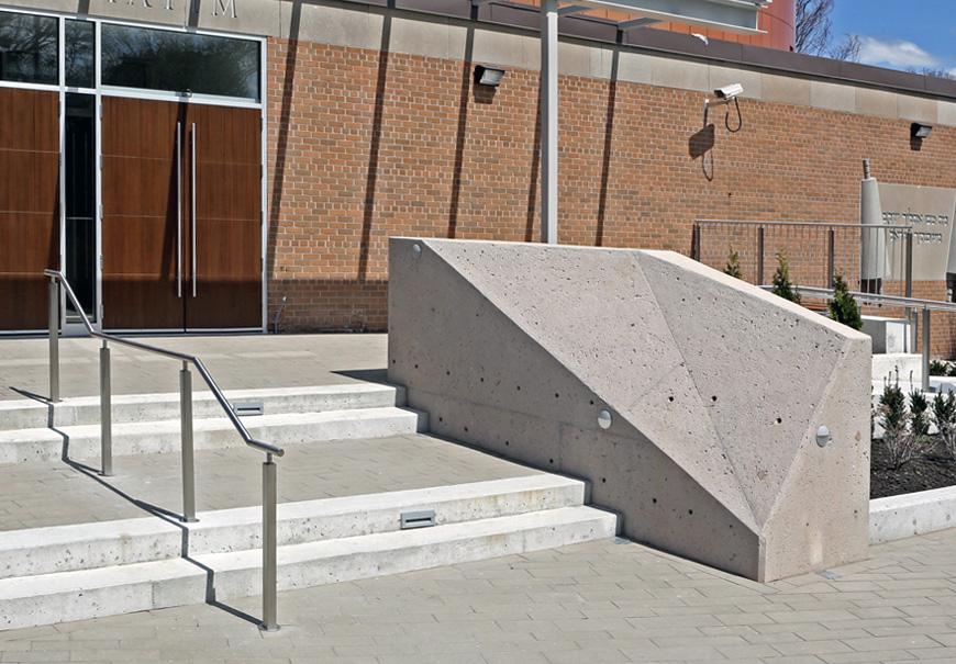 Contemporary concrete cornerstone