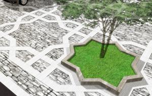 Intricate paving pattern