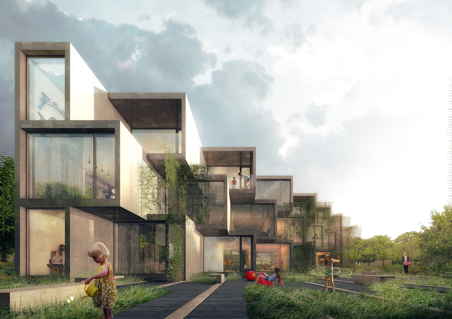 The individual units are merged, broken down, and recombined into a sculptural whole