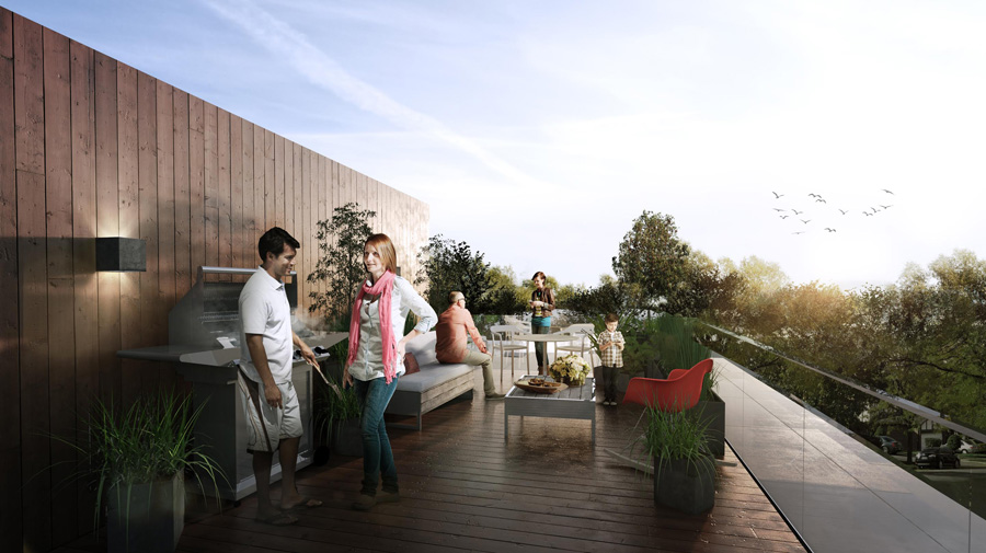 Private rooftop patios for the townhouse units