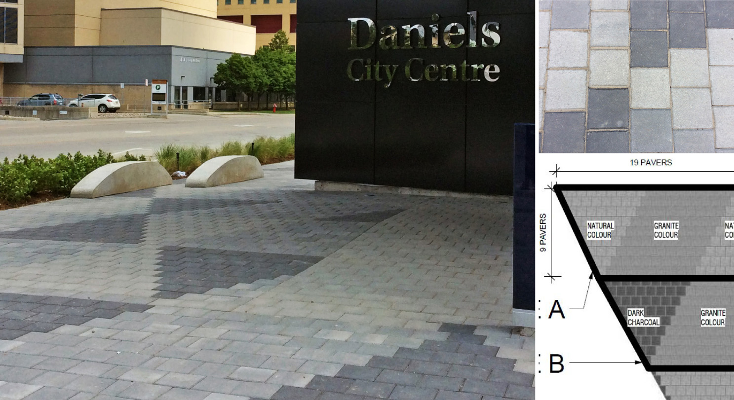 The triangulated paving pattern layout was developed when the original pattern was deemed too complex for the project.