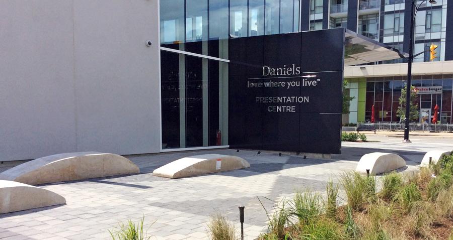 Precast concrete benches at the sales centre.