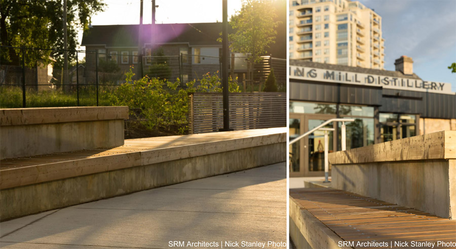 Closeups of the wood platform bench that runs through the centre of the plaza space. Photo by SRM Architects | Nick Stanley Photo.