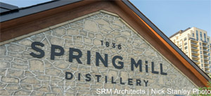 Spring Mill Distillery Signage, Guelph. Photo by SRM Architects | Nick Stanley Photo.